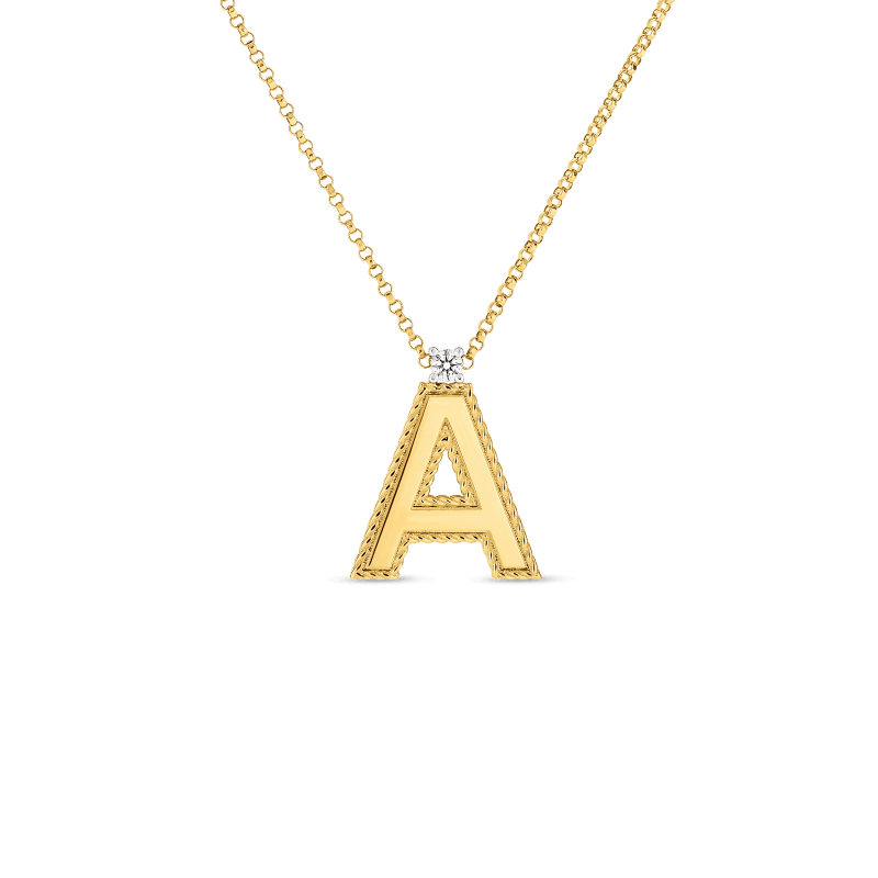 Roberto Coin 18KT GOLD PRINCESS LETTERS PENDANTS WITH DIAMONDS (LARGE)