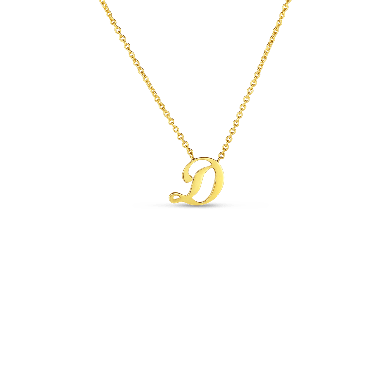 Roberto Coin 18K SMALL SCRIPT INITIAL 'D' PENDANT ON CHAIN
