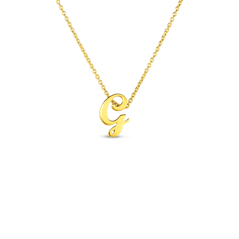 Roberto Coin 18K SMALL SCRIPT INITIAL 'G' PENDANT ON CHAIN