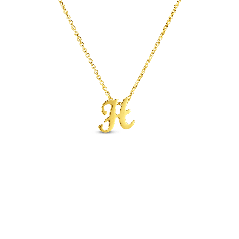 Roberto Coin 18K SMALL SCRIPT INITIAL 'H' PENDANT ON CHAIN
