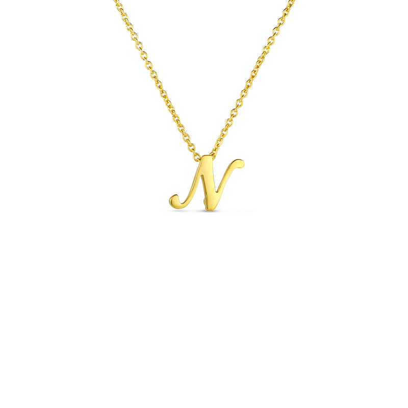 Roberto Coin 18K SMALL SCRIPT INITIAL 'N' PENDANT ON CHAIN