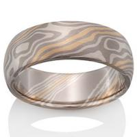 Chris Ploof  Beech Mokume in Pd500, 18K Yellow Gold and Silver