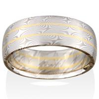 chris ploof  willow mokume in pd5 and silver with 18k yellow gold rails