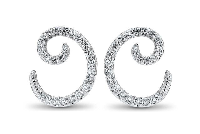Spiral Diamond Stud Earring