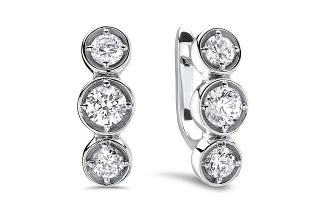 Three-Stone Diamond Huggie Earring