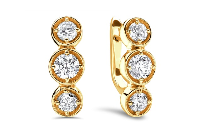 three-stone diamond huggie earring