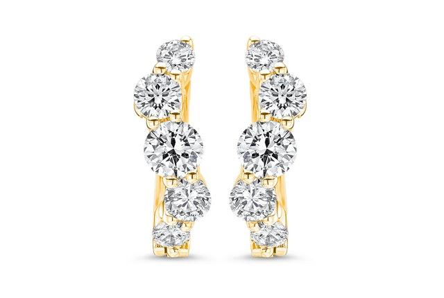 Five-Stone Diamond Huggie Earrings