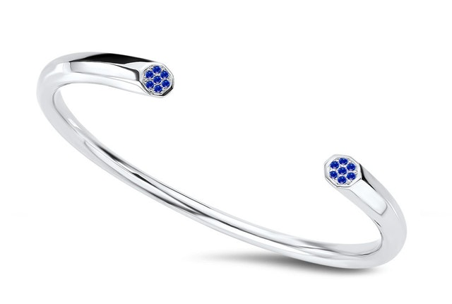 ritani signature geometric open pavé blue sapphire bangle