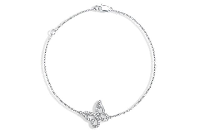 Diamond Butterfly Charm Bracelet