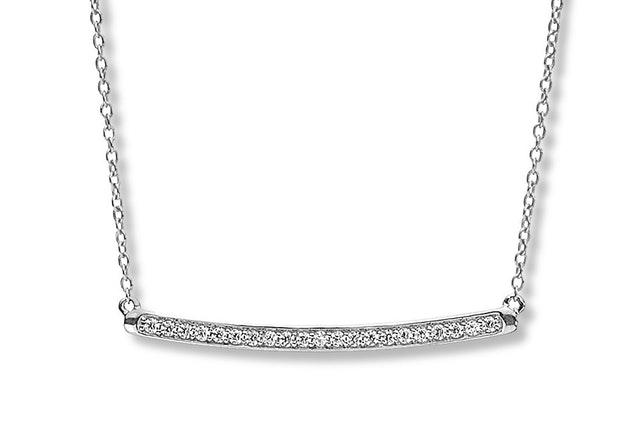 curved diamond bar pendant