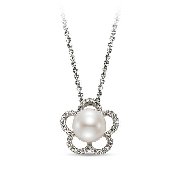 Freshwater Pearl Floral Diamond Halo Pendant