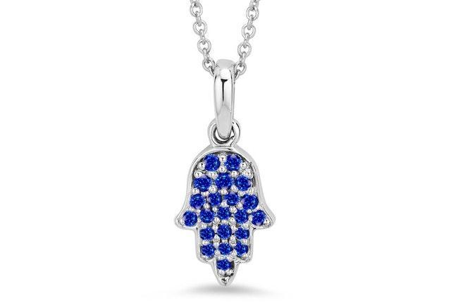 Blue Sapphire Hamsa Pendant