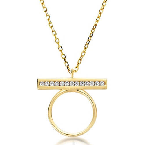 Round Diamond Bar Pendant