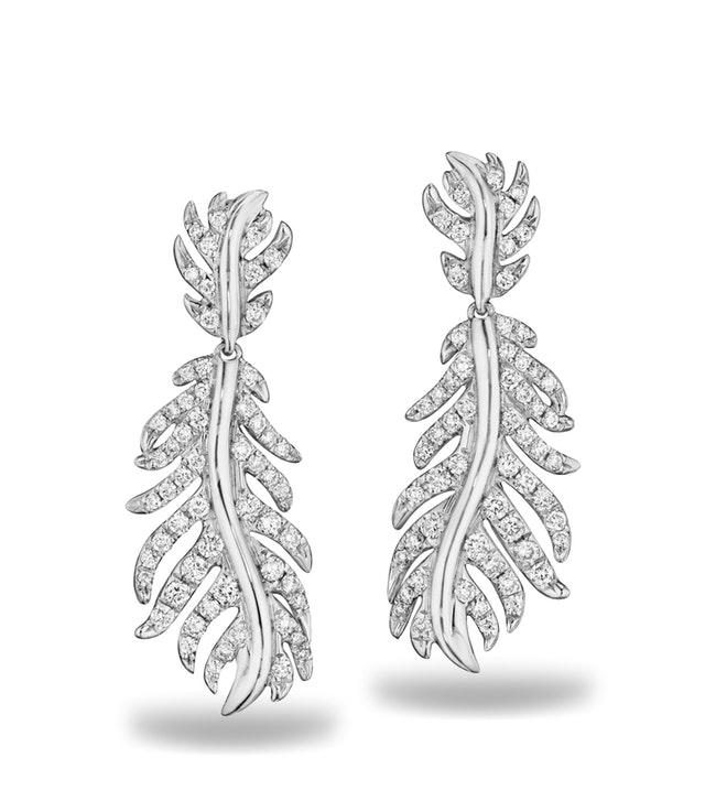 Phoenix Feather Pave Earrings