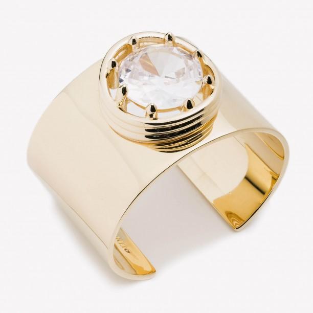 LARGE CIRCLE ESTATE CUFF BRACELET GOLD