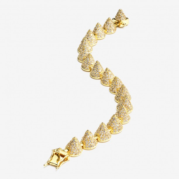 PAVE SMALL 17 CONE BRACELET GOLD