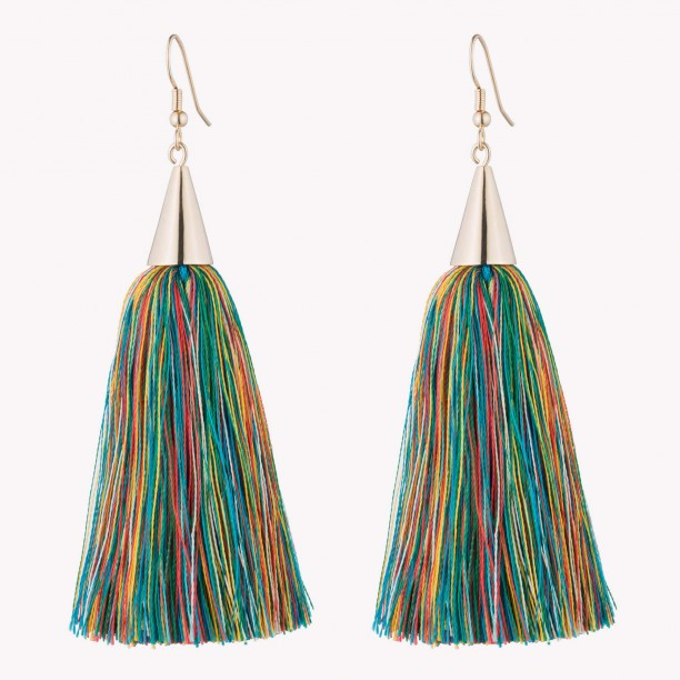 SILK TASSEL EARRINGS GOLD