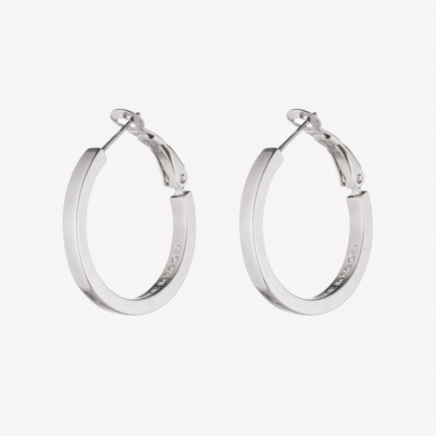 SMALLER CUBOID HOOP EARRINGS SILVER