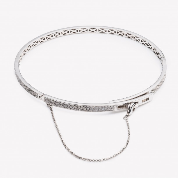 EXTRA THIN PAVÉ SAFETY CHAIN CHOKER SILVER