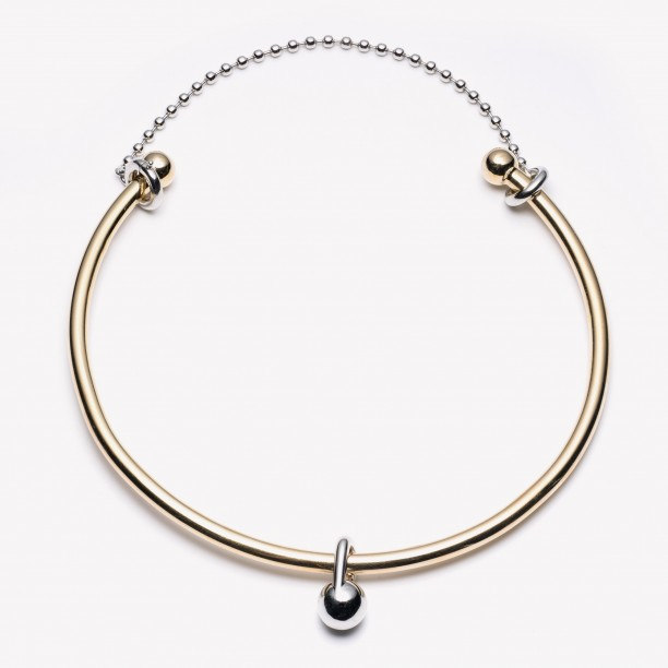 BARBELL CHAIN CHOKER GOLD/SILVER