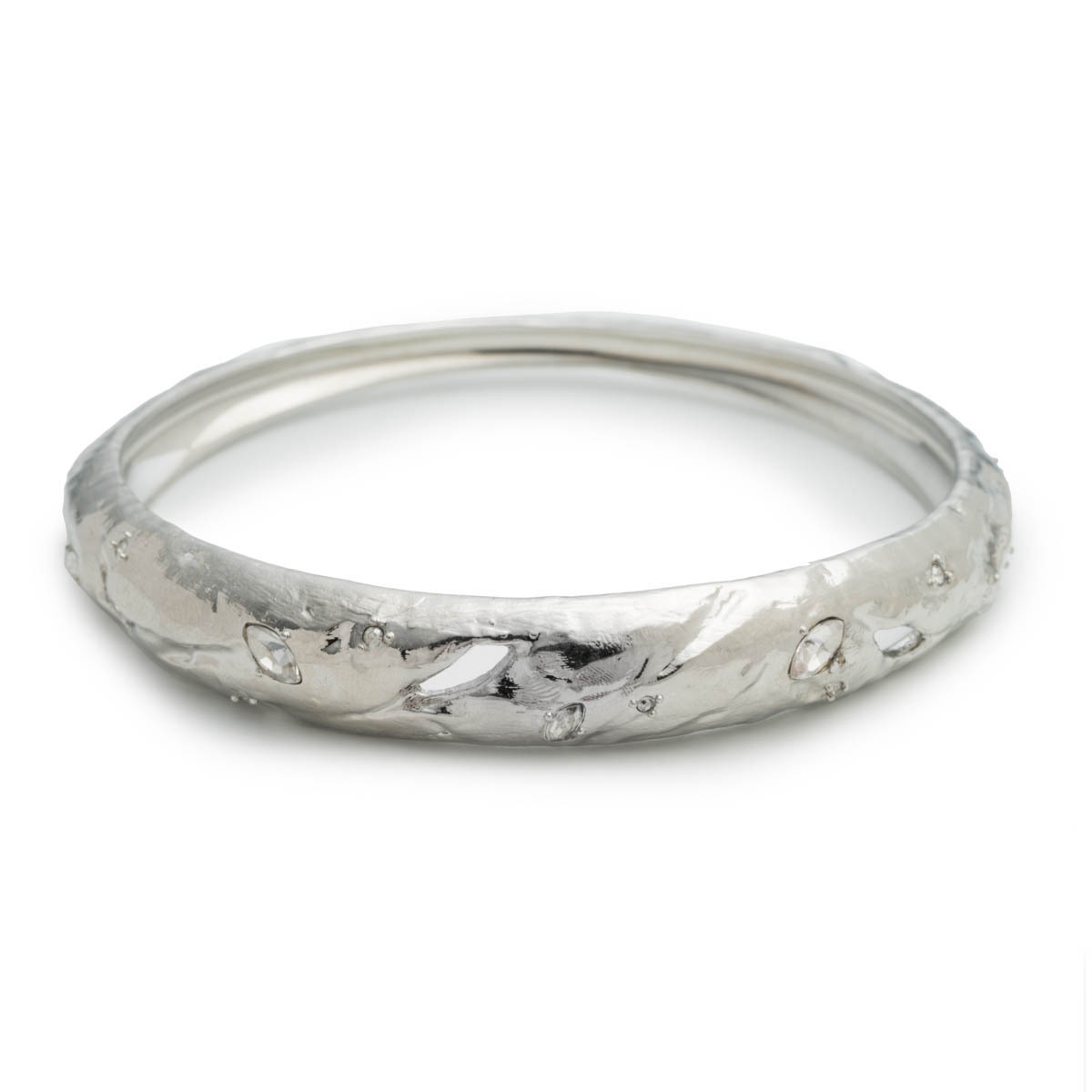 Skinny Tapered Rocky Metal Bangle Bracelet