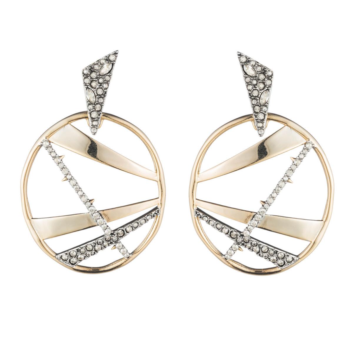 Crystal Encrusted Plaid Dangling Earring