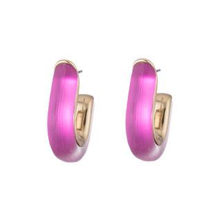 Geometric Huggie Post Earring