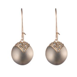 Crystal Encrusted Origami Inlay Dangling Sphere Kidney Wire Earring
