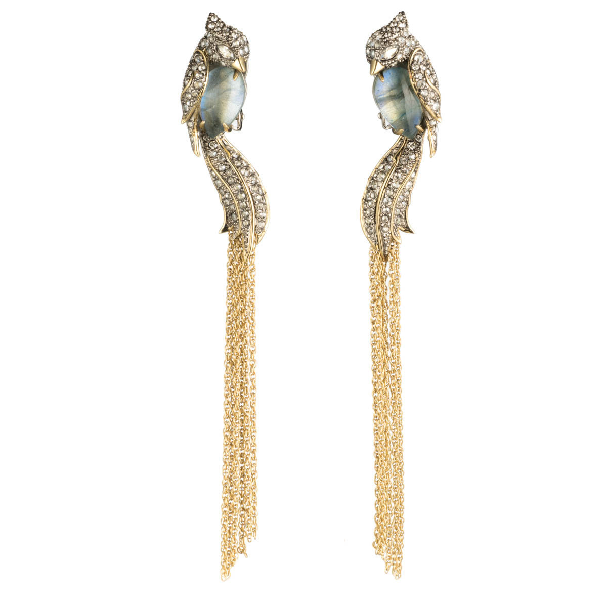 Crystal Encrusted Lovebirds Tassel Clip Earring