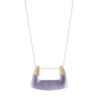 Crystal Encrusted Abstract Buckle Shape Pendant Necklace