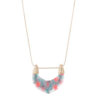 Crystal Encrusted Tulip Print Abstract Buckle Pendant Necklace