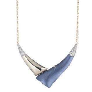 Alexis Bittar - Liquid Gold with Crystal Accent V Shaped Necklace