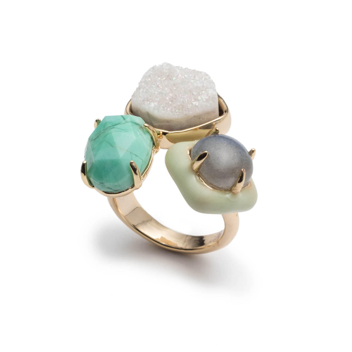 Druzy Stone Cluster Cocktail Ring