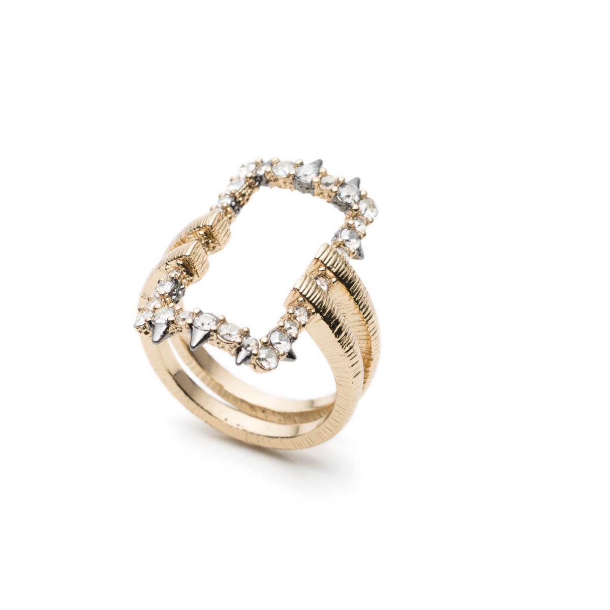 Crystal Encrusted Oversized Link Ring