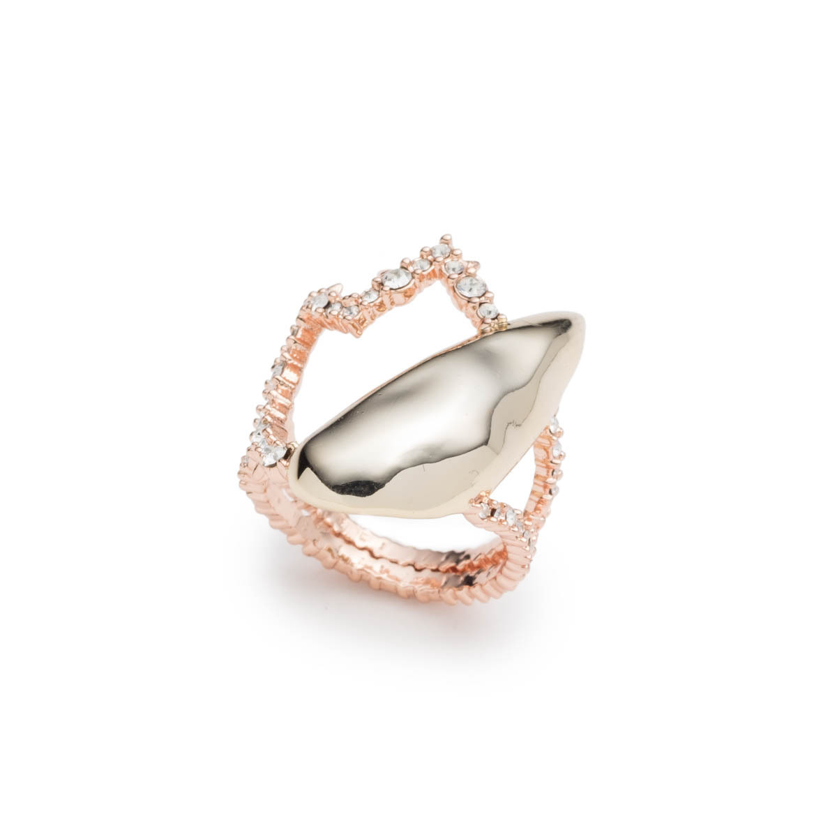 Crystal Encrusted Abstract Tulip Ring