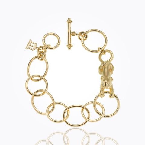 18K Small Single Round Bracelet with Royal Blue Moonstone and diamo...