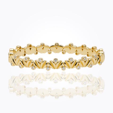 18K Single Round Bracelet with Royal Blue Moonstone and diamond...