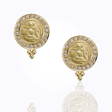 18K Vine Amulet Earrings with rock crystal and diamond...