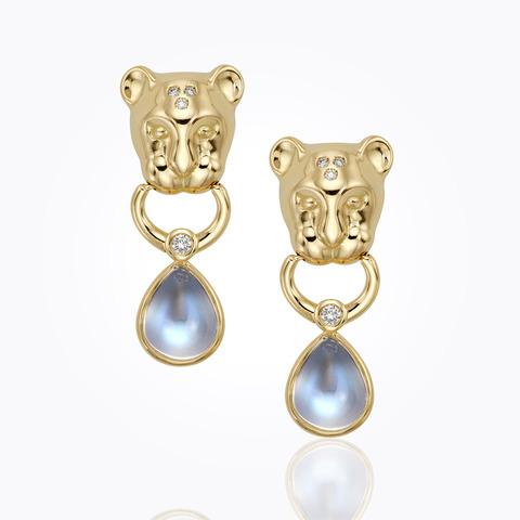 18K Foglia Earrings with diamond pavé
