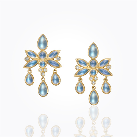 18K Lion Cub Drop Earrings with royal blue moonstone and diamond...