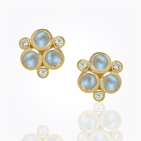 18K Matisse Earrings with rock crystal and diamond pavé...