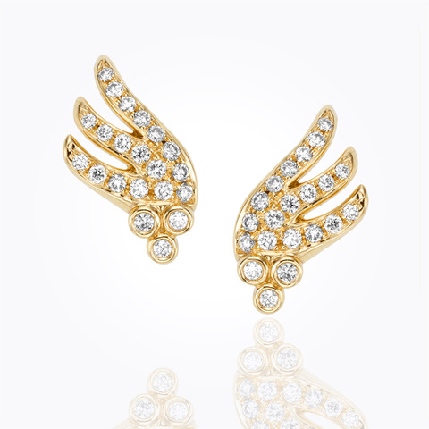 18K Classic Amulet Earrings with rock crystal and diamond granulati...