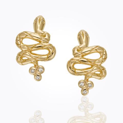 18K Double Drop Earrings wit...