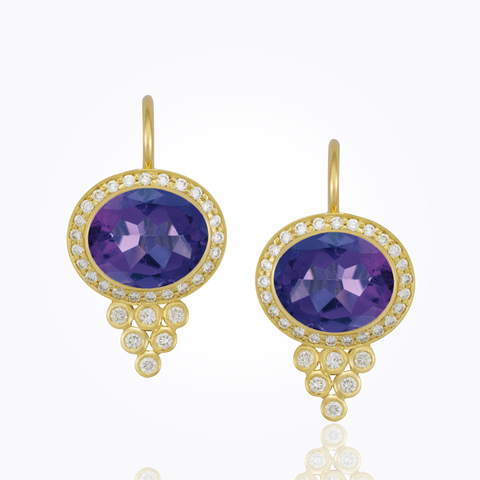 18K Classic Cabochon Oval Earrings with diamond granulation - 10X8m...