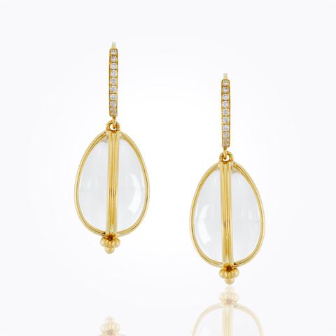 18K Foglia Double Drop Earrings with diamond pavé...