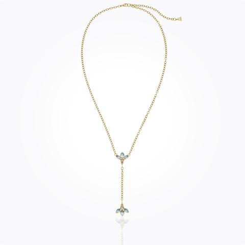 18K Bird Necklace with Crystal Y-Drop