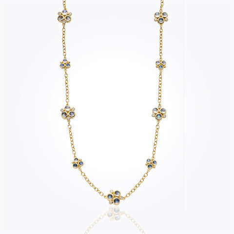 18K Trio Necklace with emerald and diamond pave