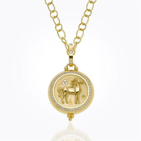 18K Swan Coin Pendant with d...