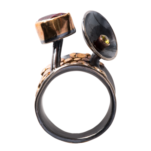 Amethyst and Demantoid Garnet Ring