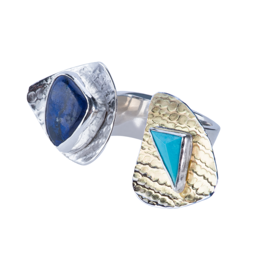 22k Azurite & Turquoise Open Top Ring